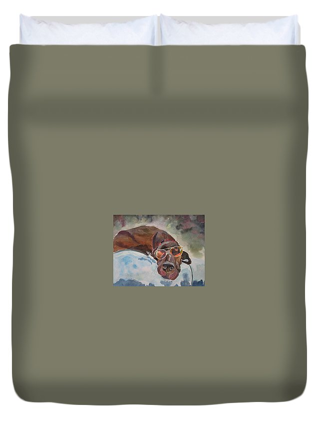 Dog Duvet Cover featuring the painting Cool Lab With Sunglasses by Brenda Kennerly