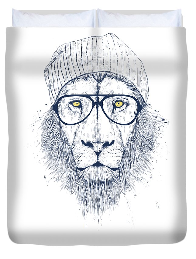 Lion Duvet Cover featuring the drawing Cool lion by Balazs Solti