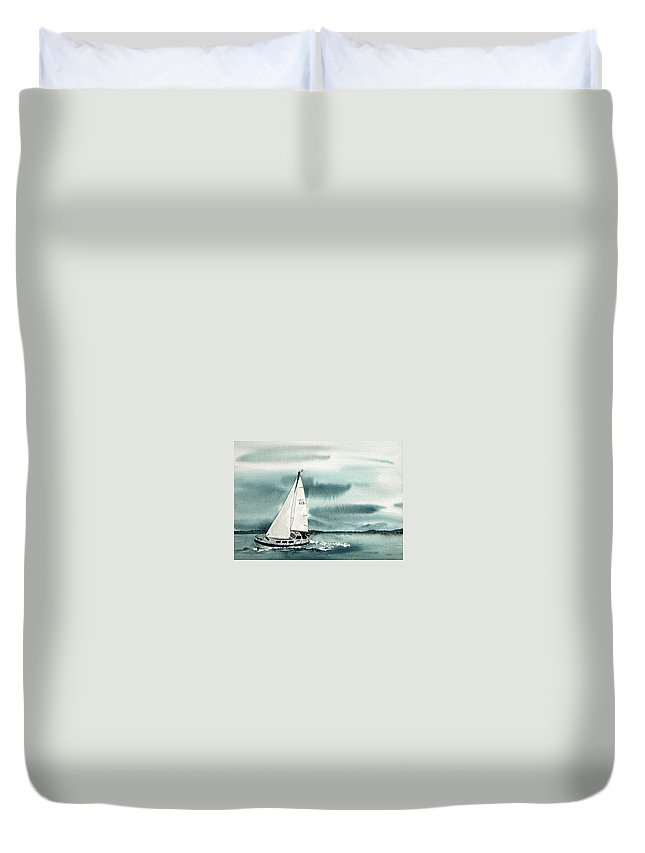 Sailing Duvet Cover featuring the painting Cool Sail by Gale Cochran-Smith