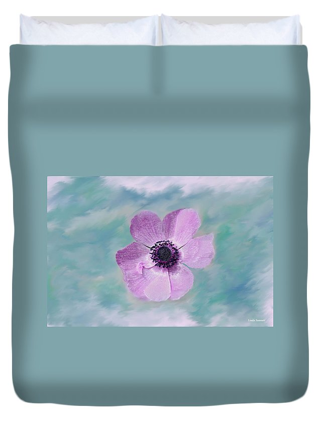 Flowers Floral Macro Nature Gardens Pink Purple Blue Green White Petals Spring Flowers Duvet Cover featuring the photograph Cool Spring by Linda Sannuti
