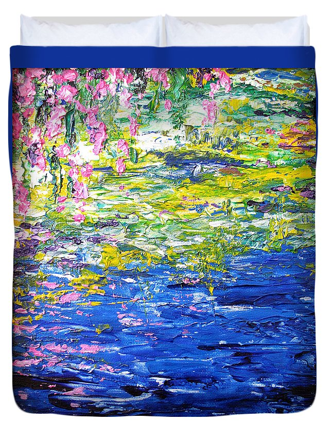 Water Duvet Cover featuring the painting Cool Waters by Elaine Booth-Kallweit