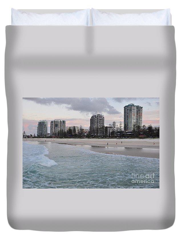Gold Coast Duvet Cover featuring the photograph Coolangatta Sunset by Csilla Florida