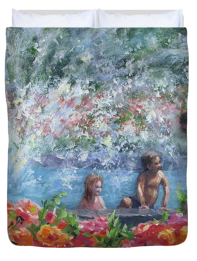 Floral Duvet Cover featuring the painting Cooling Off by Karen Ilari