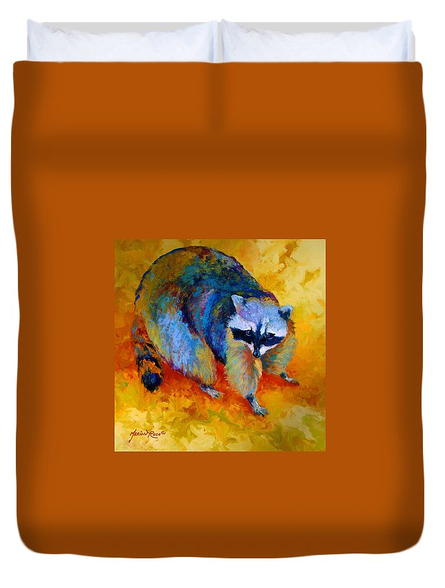 Racoon Duvet Cover featuring the painting Coon by Marion Rose