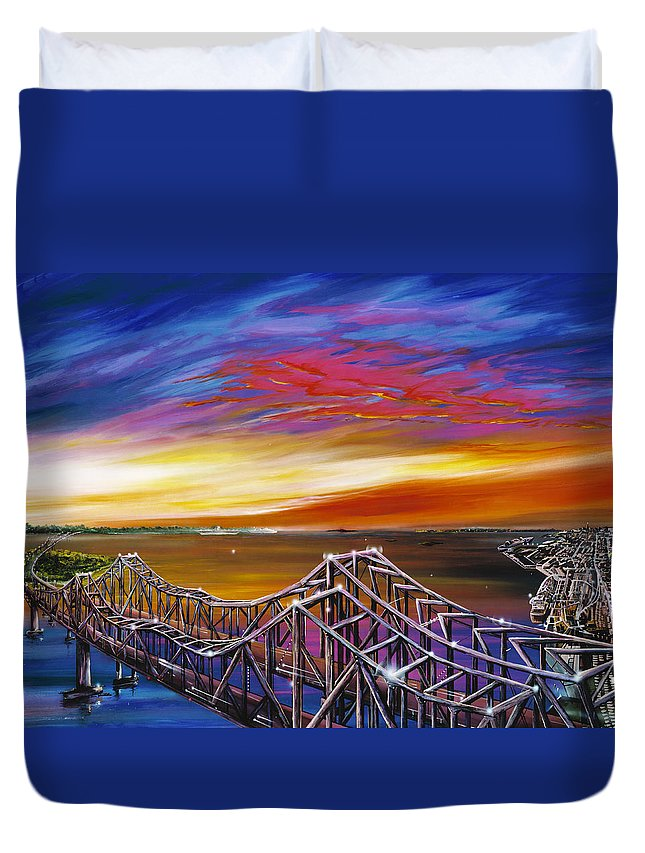 Clouds Duvet Cover featuring the painting Cooper River Bridge by James Christopher Hill