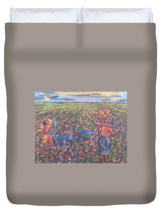 Painting Duvet Cover featuring the painting Cooperation by Tawengwa Magada
