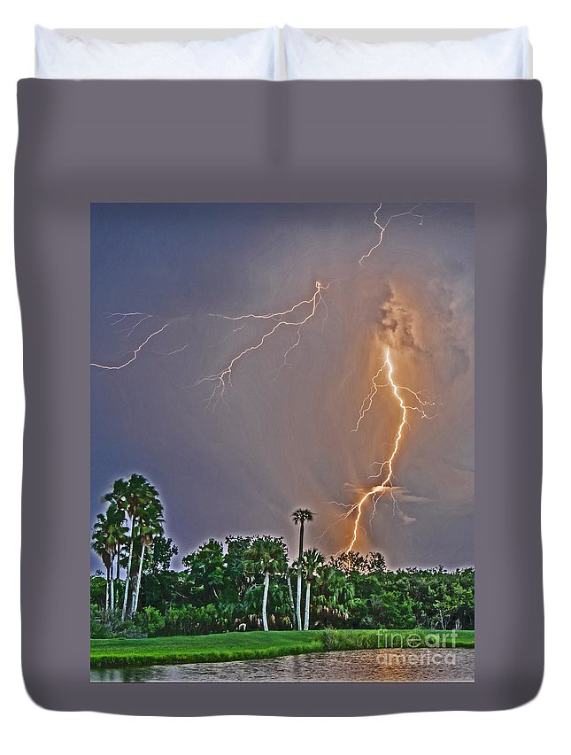 Lightning Duvet Cover featuring the photograph Cooper's Bayou Stricken by Stephen Whalen