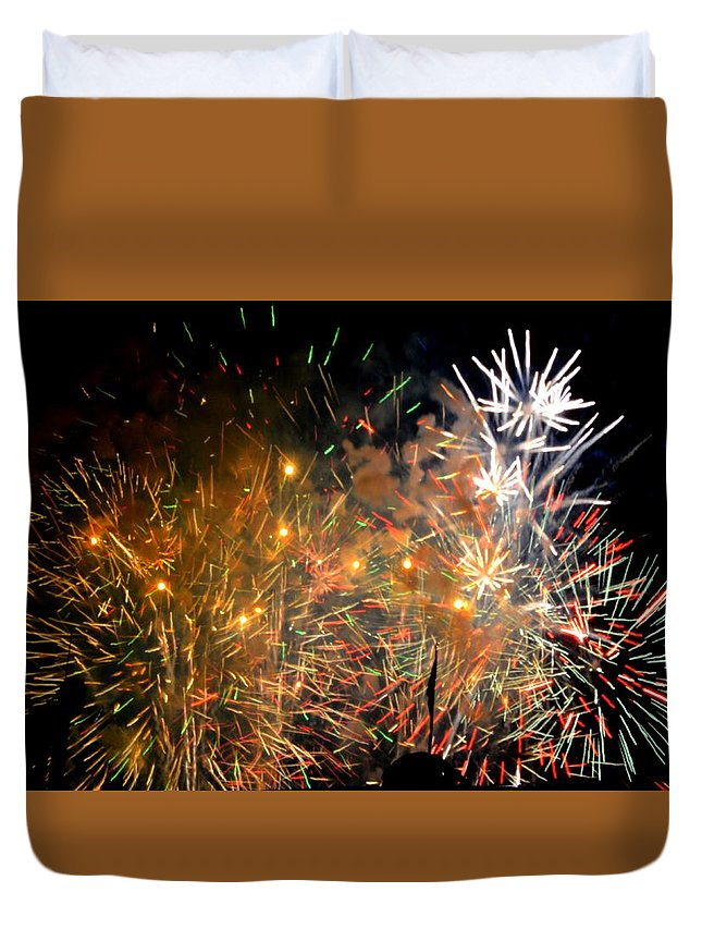Fireworks Duvet Cover featuring the photograph Coors Field Fireworks 3 by Dave Masters