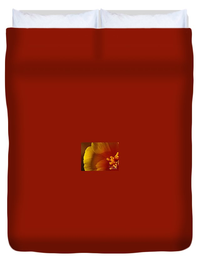 Poppy Duvet Cover featuring the photograph Copa De Oro - Vibrant by Linda Shafer