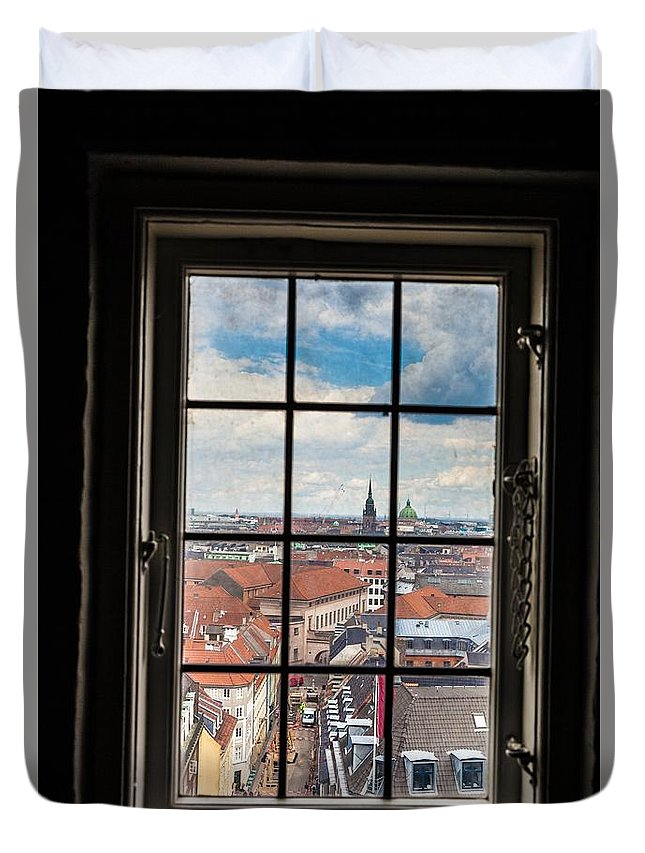 Copenhagen Duvet Cover featuring the photograph Copenhagen Cityscape And Roofs Behind A Window by Leonardo Patrizi