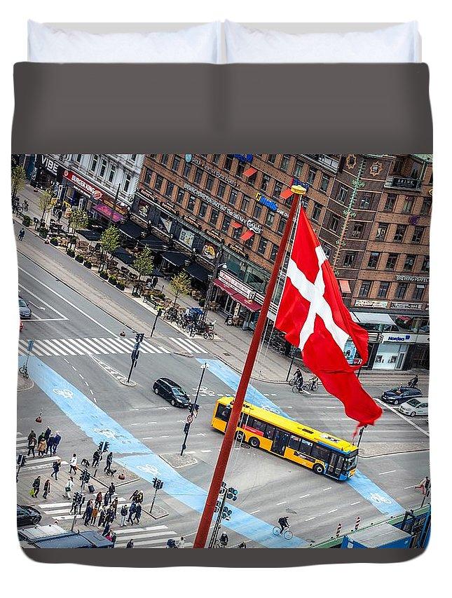 Copenhagen Duvet Cover featuring the photograph Copenhagen Downtown Traffic by Leonardo Patrizi