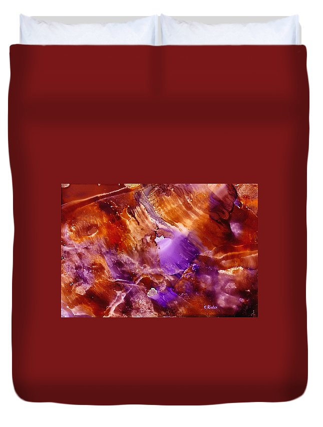 Abstract Duvet Cover featuring the painting Copper And Amethyst II by Susan Kubes