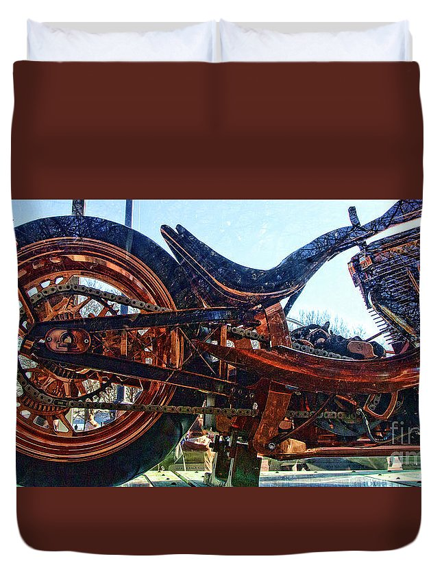 Liberty Bike Duvet Cover featuring the photograph Copper Bike Ny Centennial Statue Of Liberty Ny by Chuck Kuhn