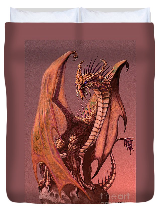 Dragon Duvet Cover featuring the digital art Copper Dragon by Stanley Morrison