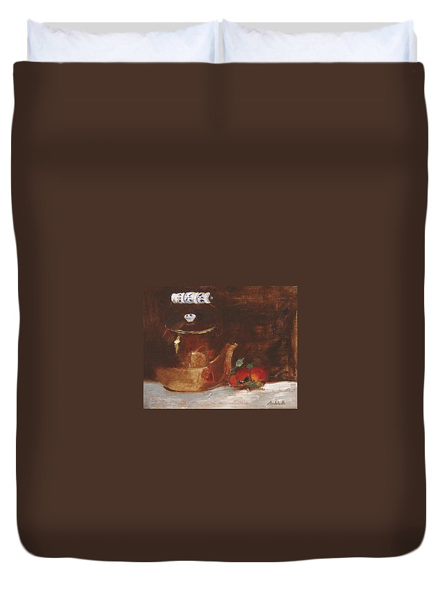 Kitchen Duvet Cover featuring the painting Copper Kettle by Barbara Andolsek