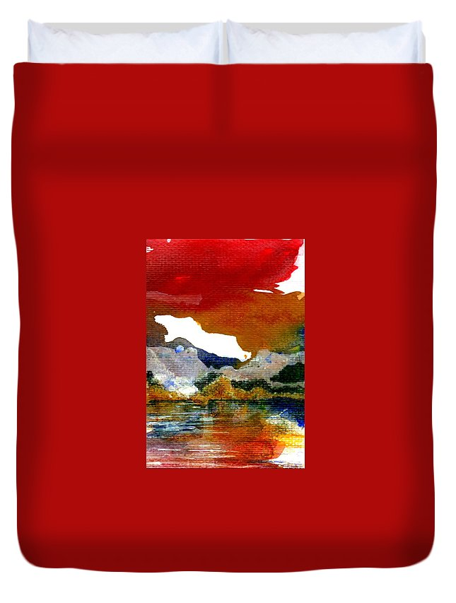 Copper Lake Duvet Cover featuring the painting Copper Lake by Melody Horton Karandjeff