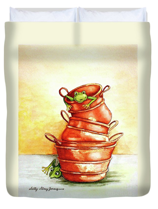 Copper Duvet Cover featuring the painting Copper Pots by Sally Storey Jones
