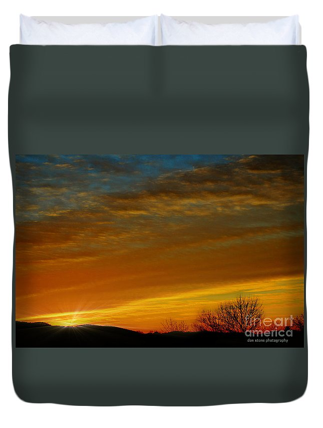 Mountain Duvet Cover featuring the digital art Coppertone by Dan Stone