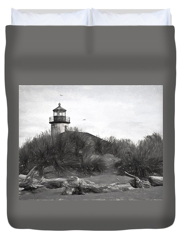Lighthouse Duvet Cover featuring the photograph Coquille River Lighthouse Oregon Black And White Giclee Art Print by Gigi Ebert