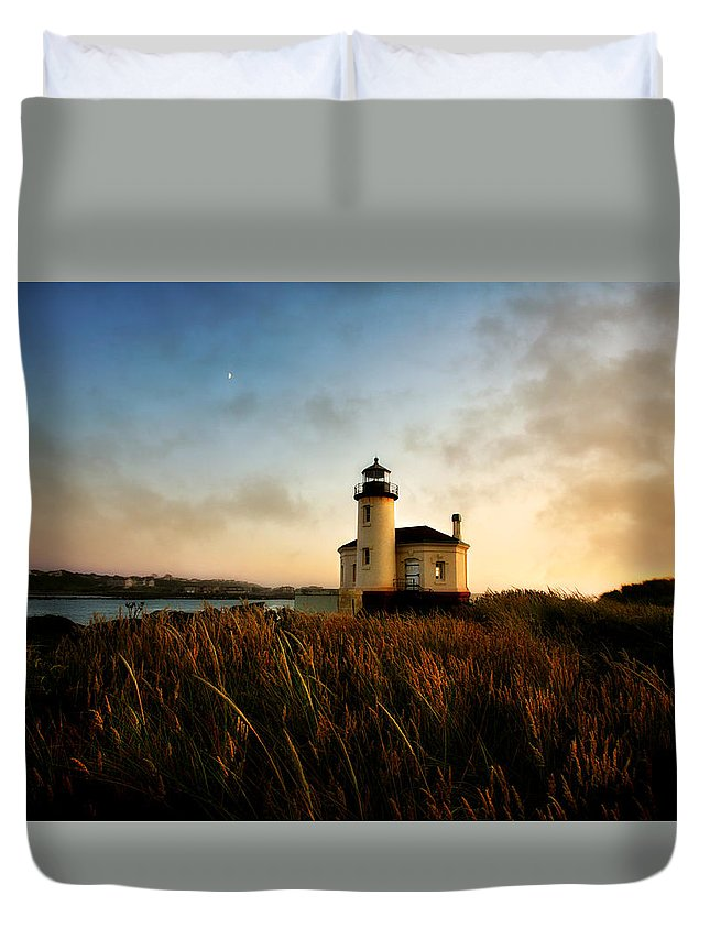 Lighthouse Duvet Cover featuring the photograph Coquille River Lighthouse by T J Hankins