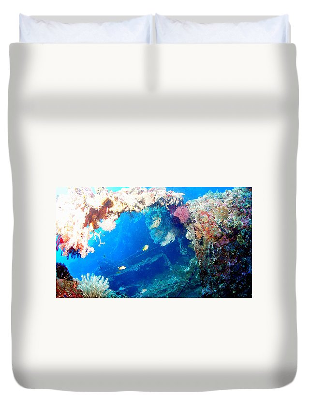 Duvet Cover featuring the photograph Coral Archways by Todd Hummel
