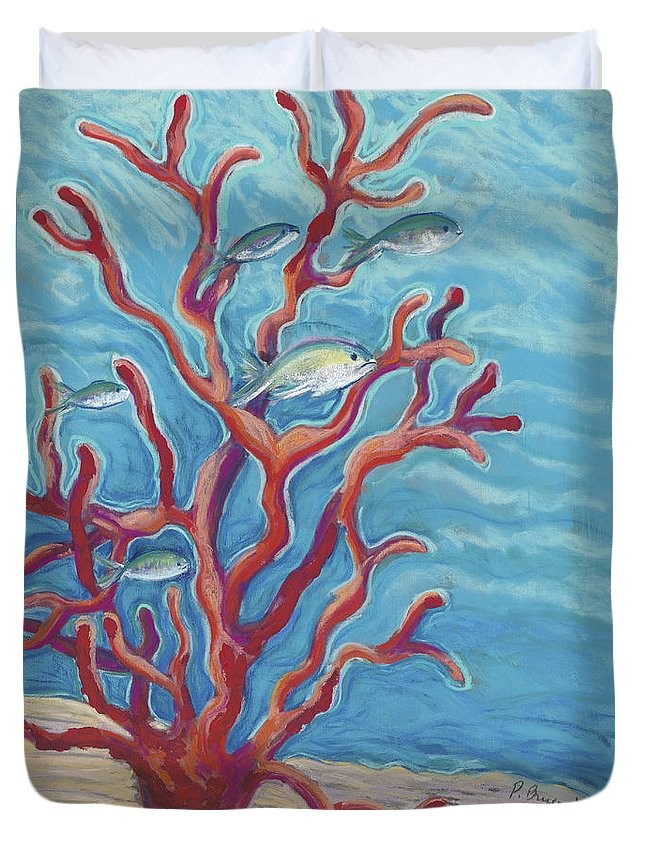 Animal Art Duvet Cover featuring the painting Coral Assets by Patti Bruce - Printscapes