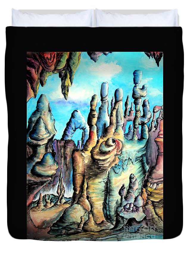 Space Duvet Cover featuring the painting Coral Island, Stone City Of Alien Civilization by Sofia Metal Queen