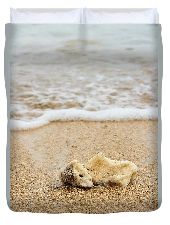 Beach Duvet Cover featuring the photograph Coral On The Beach by Arie Toursino