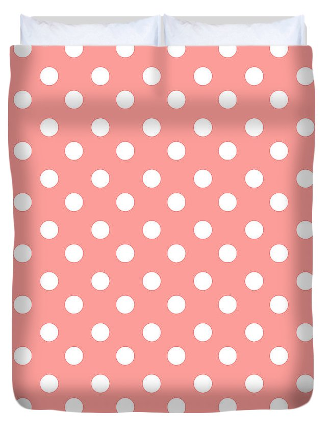 Pink Duvet Cover featuring the tapestry - textile Coral Pink Polka Dots by Bimbys Collections