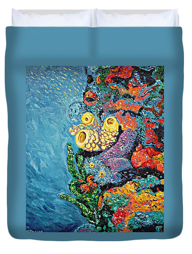 Coral Duvet Cover featuring the painting Coral With Cucumber by Ericka Herazo