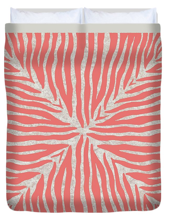 Zebra Duvet Cover featuring the painting Coral Zebra 2 by Marcella Muhammad