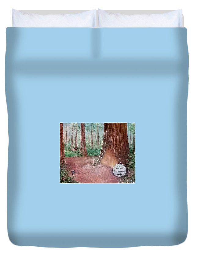 Redwood Forest Duvet Cover featuring the painting Cora's Christmas by Lyndelle Hinkle