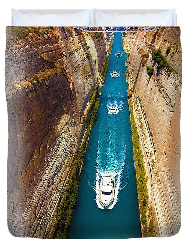 Art & Collectibles Duvet Cover featuring the digital art Corinth Canal by Don Kuing