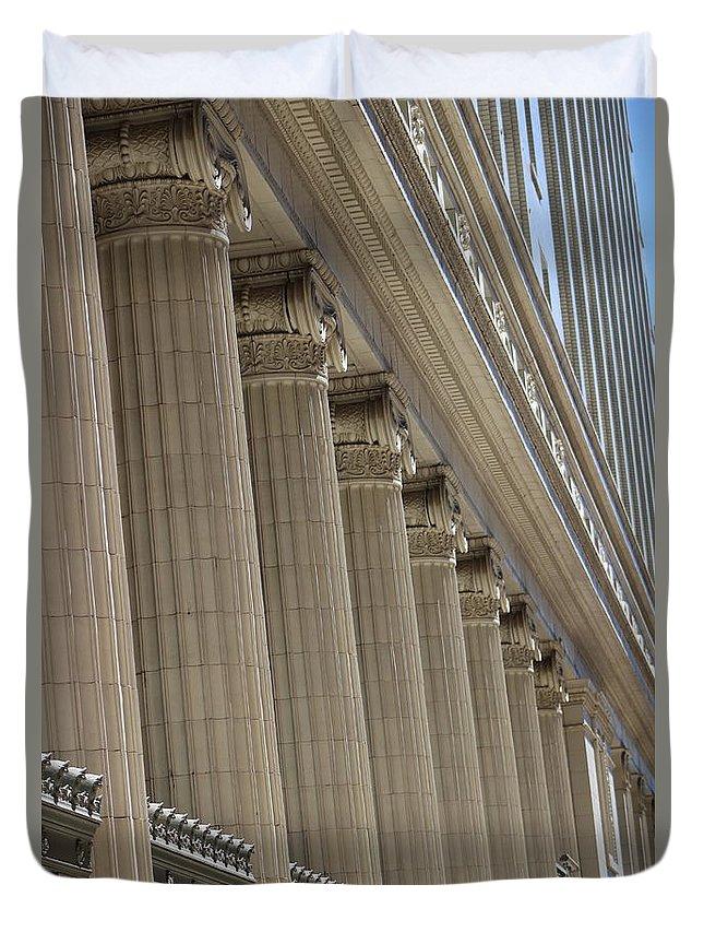 Corinthian Columns Duvet Cover featuring the photograph Corinthian Columns Of Union Station Chicago by Colleen Cornelius