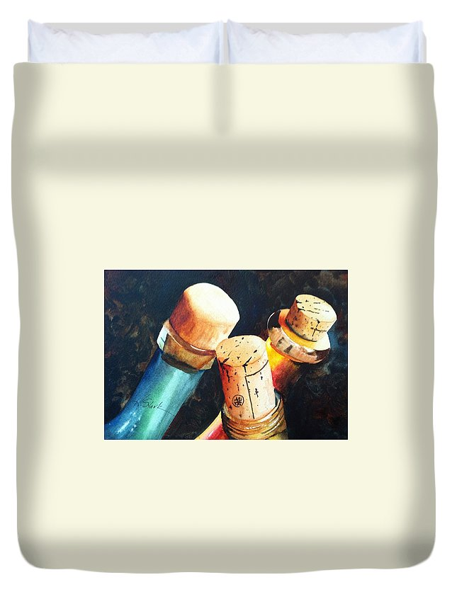 Glass Duvet Cover featuring the painting Corked II by Karen Stark