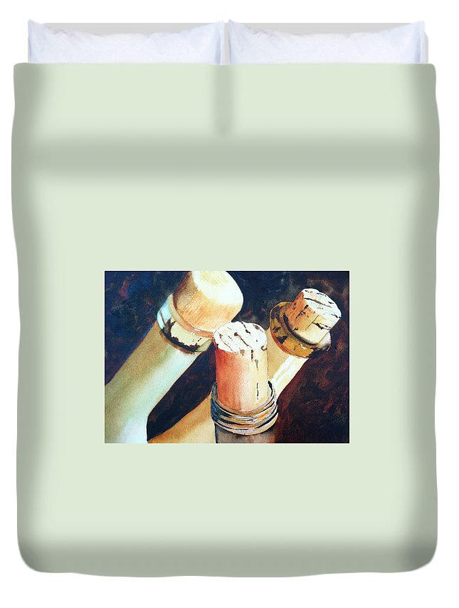 Watercolor Duvet Cover featuring the painting Corked by Karen Stark