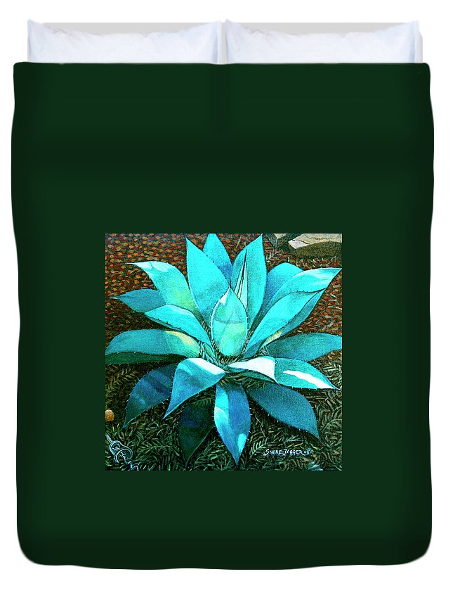 Cactus Duvet Cover featuring the painting Corkscrew by Snake Jagger