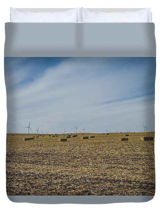 Iowa Duvet Cover featuring the photograph Corn Bales by Mike Cox