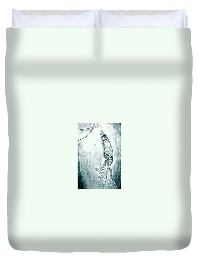Corn Duvet Cover featuring the drawing Corn In Space by Michelle Calkins