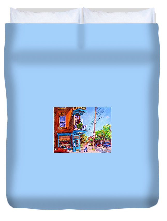 Wilenskys Corner Fairmount And Clark Duvet Cover featuring the painting Corner Deli Lunch Counter by Carole Spandau