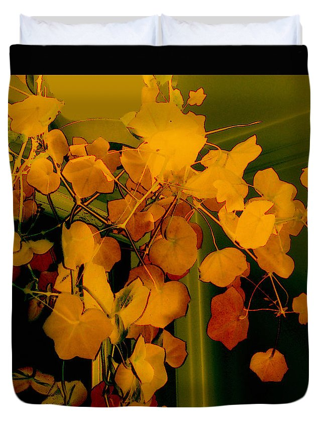 Autumn Duvet Cover featuring the digital art Corner In Green And Gold by RC DeWinter