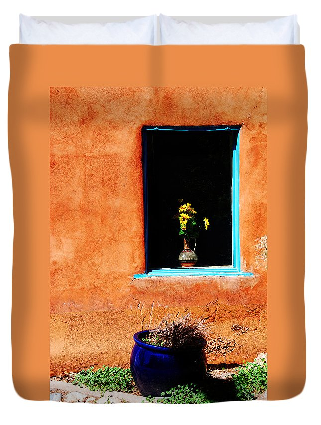 Photography Duvet Cover featuring the photograph Corner In Santa Fe Nm by Susanne Van Hulst