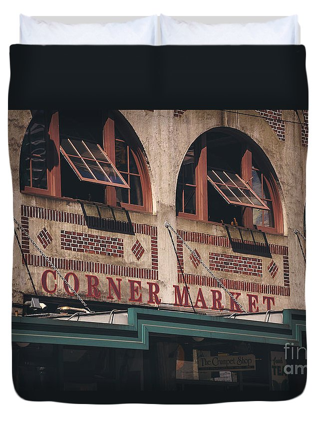 Market Duvet Cover featuring the photograph Corner Market Pikes Place Market by Joan McCool