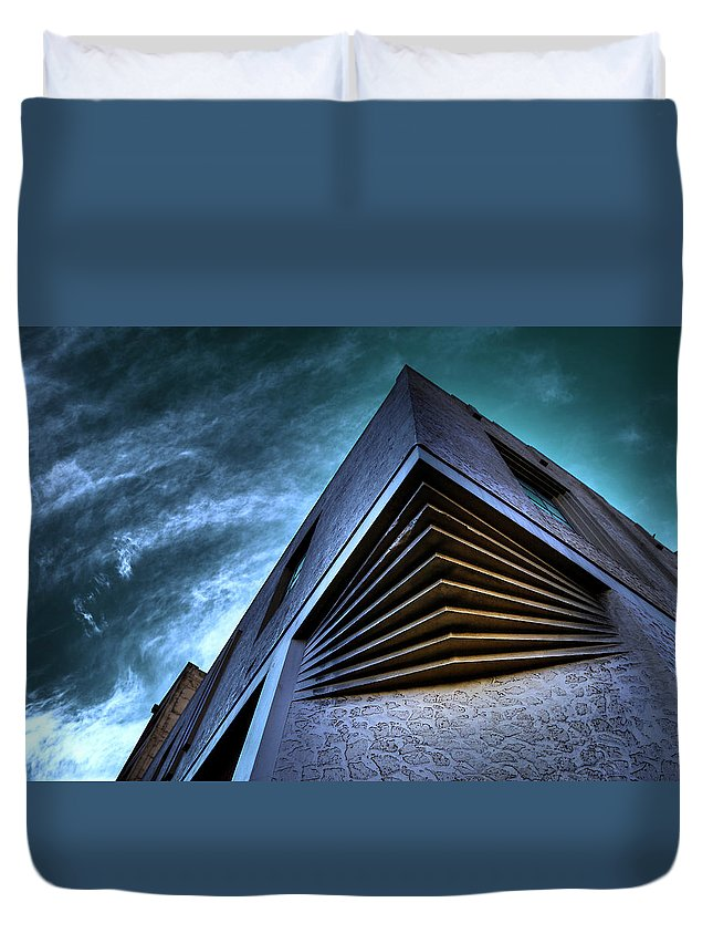 Architecture Duvet Cover featuring the photograph Corner Shot by Wayne Sherriff