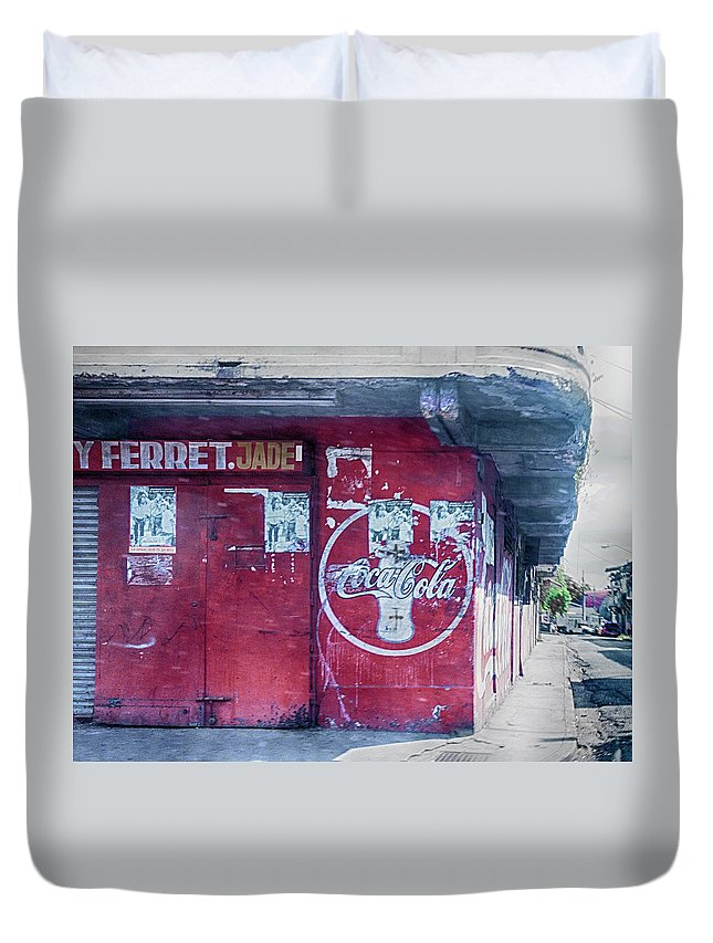 Coca Cola Duvet Cover featuring the photograph Corner Store by Jessica Levant