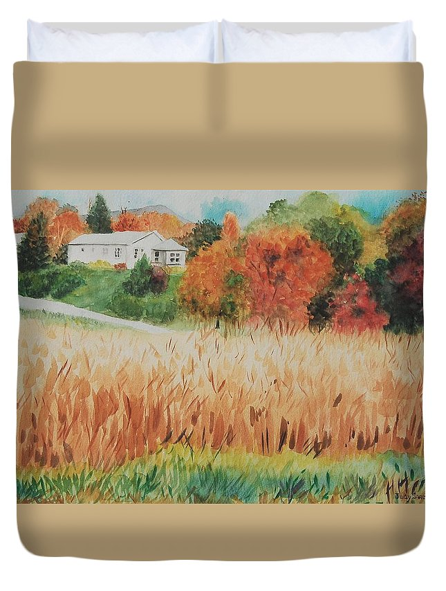 Autumn Duvet Cover featuring the painting Cornfield In Autumn by Judy Swerlick