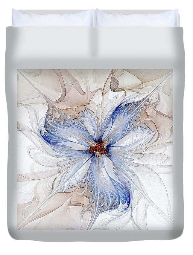 Digital Art Duvet Cover featuring the digital art Cornflower Blues by Amanda Moore