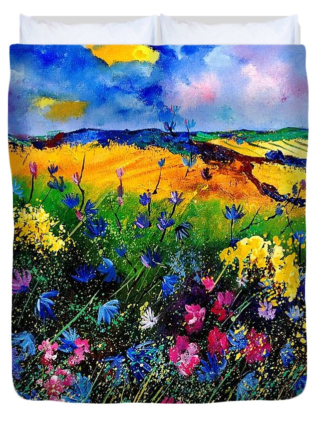 Flowers Duvet Cover featuring the painting Cornflowers 680808 by Pol Ledent
