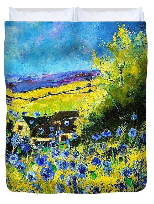 Flowers Duvet Cover featuring the painting Cornflowers In Ver by Pol Ledent