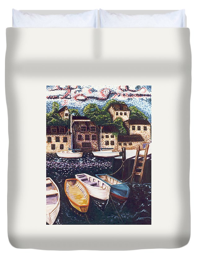 English Sea Town Duvet Cover featuring the painting Cornwall by Thomas Lupari